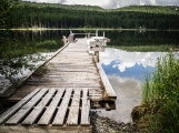 There are a few old docks for the private cabins that line one side of the lake