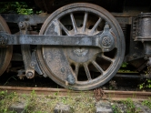 Old train locomotive, partially restored