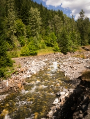 It is hard to picture this pretty big creek restricted to a flume