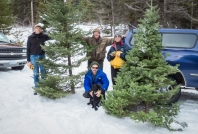 A successful Christmas tree hunt shared with good friends.