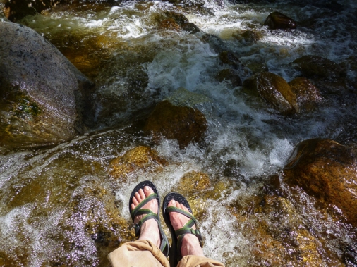 I sat on a boulder in Boulder Creek and cooled my sore feet.
