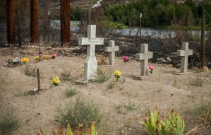 The fire burned around this Native American graveyard near the mouth of the Methow