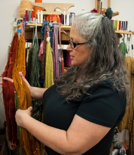 Carolee describes the natural dyes she uses on wool and hemp yarns