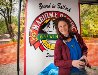 Local yoga teacher serves in the beer garden