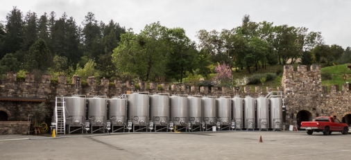 A mixture of high tech industrial wine making with traditional looking castle