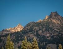 Last light on the peaks.