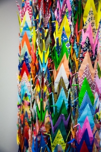 Strings of paper cranes