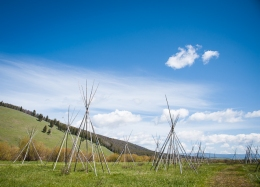 Tipi poles mark the sites of the original tipis where the Indians were camped.