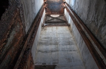Looking up an elevator shaft