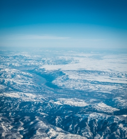 Flying over frozen north central Washington. That's the Columbia River and Wenatchee.