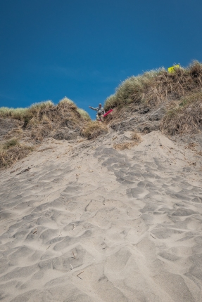 One of those high dune crossings to the beach. Beach sand in sun was quite hot and I worried about the dogs' paws. We got them to the wet beach sand as quick as possible. It was too hot for us to cross with bare feet.
