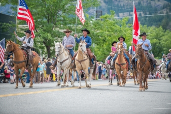 Color guard on horseback